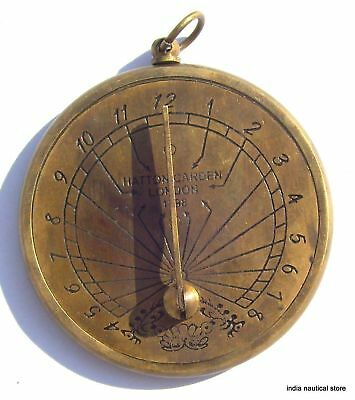 Lot Of 10Pc Vintage Sundial Clock Keychain Antique Brass Maritime Key-Ring Gift 2