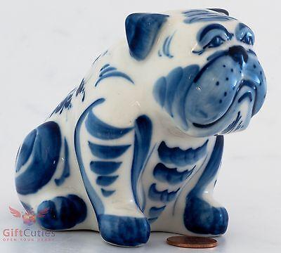 Porcelain Dog English Bulldog Figurine Seaman in sunglasses in Gzhel handmade
