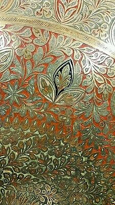"""ANTIQUE LARGE SIZE BRASS, Copper TRAY 45 """"×45"""" HAND CARVED & HAND PAINTED ENAMEL 7"""