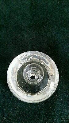 Pair of big heavy glass cabinet knobs or drawer pulls 1 3/4 wide  1 1/2 in. tall 5