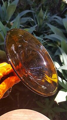 Vtg Signed H. Tanner Art Glass Candy Compote Dish Amber Glass 6in T 6in W (Top)