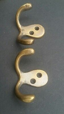 "2 Small Double Coat Hat Hooks Solid Brass Antique Vintage style 2 1/2"" #C1"