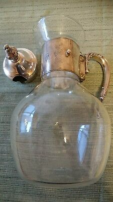 Antique Silver Plated Cut Glass Claret Jug Decanter Pitcher 4