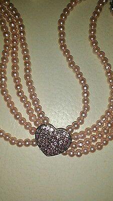PINK 3 STRAND PEARL and DIAMANTE HEART PET JEWELLERY COLLAR FOR  SMALL DOGS 2