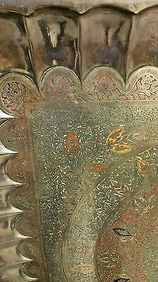 """ANTIQUE LARGE SIZE BRASS, Copper TRAY 45 """"×45"""" HAND CARVED & HAND PAINTED ENAMEL 6"""