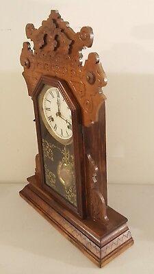 Antique Working 1870's Waterbury Clock Co. Victorian Walnut Parlor Mantel Clock 7