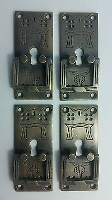 """4 Arts and Crafts Mission Handles Brass Square Ring pull w. Escutcheon 3"""" #H28 2"""