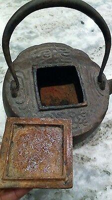Antique Japanese Cast iron Tetsubin tea ceremony tea kettle tea pot