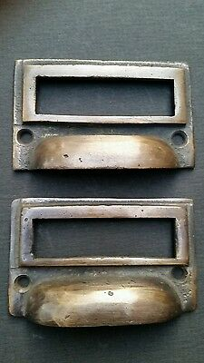 "2 tarnished brass File Apothecary drawer pull Handles 2 3/4"" Label holders #F1"