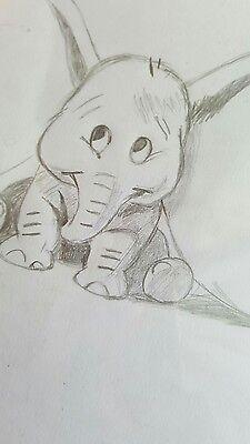 Quadro Disegno A Matita Dumbo Disney In Grafite Eur 700