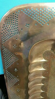 "ANTIQUE LARGE SIZE BRASS, Copper TRAY 45 ""×45"" HANDMADE 4"