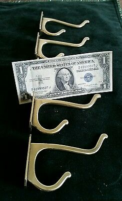 Set of 5 matching antique,solid brass hall tree or coat hooks restored 4