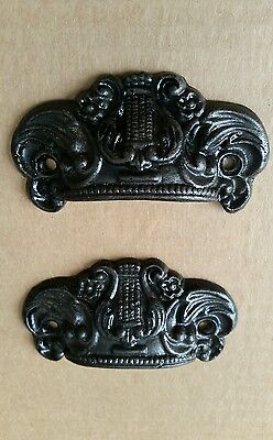 2 Pairs Drawer Pulls Embossed Cast Iron Ornate Victorian Style #59