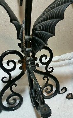 "Amazing Antique 26"" Gothic Dragon Fireplace Andirons Iron Stunning Rare 11"