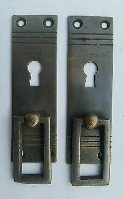 "6 Arts and Crafts Mission brass handle pull antique style  escutcheon 3 7/8""#H31 2"