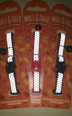 Wolf & Tiger Collection Spotty Reflective Cat Collar in  Black Colour 3