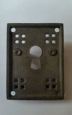 """4 Antique Style Arts and Crafts Mission Brass Handles Pull w. escutcheon 2"""" #H27 4"""