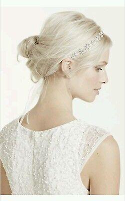 ... David s Bridal Ribbon Tie Headband w  Crystal Floral Design c31043b46d3