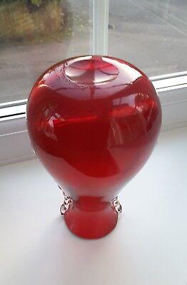 Vintage Whitefriars Ruby red vase Pattern No. 9420