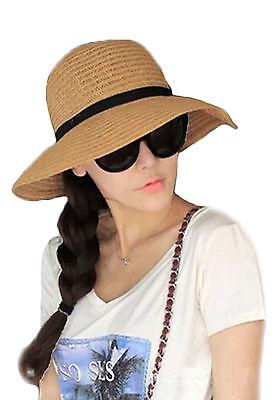 Floppy Foldable Ladies Women Straw Beach Sun Summer Hat Beige Wide Brim SumDLUK 7