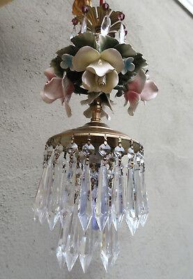 Porcelain ROSE pink Chandelier SWAG lamp Capodimonte Brass Vintage crystal 3