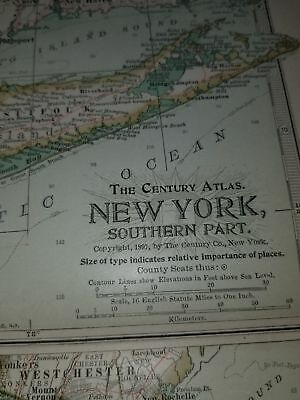 Original 1897 Map of New York Southern Part by The Century Co, 2