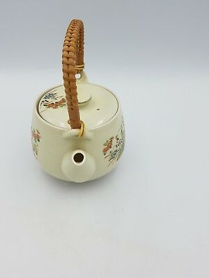 Vintage Japanese Satsuma Porcelain Teapot Floral Exotic Birds Gold Bamboo Handle 5