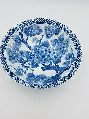 Japanese Fine Porcelain Large Footed Bowl Blue & White Blossom Floral Geometric 6