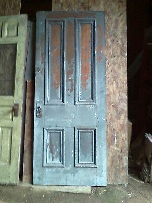 Antique Butternut Victorian late 1800's Solid Wood Door w/raised moldings 4 pane