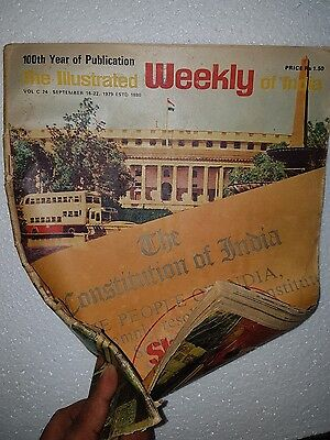 Vtg Illustrated Weekly Of India Magazine 1979 100th year of Publication