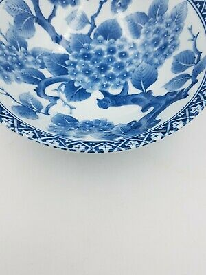 Japanese Fine Porcelain Large Footed Bowl Blue & White Blossom Floral Geometric 5