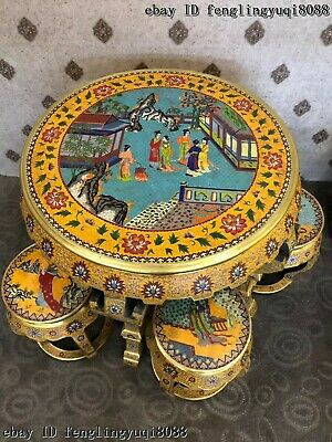 China Copper Bronze Cloisonne Enamel Beauty Woman Pattern Dining Table Stool Set 3