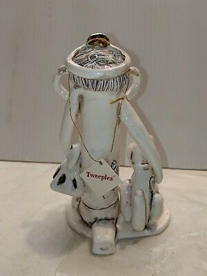New hand crafted  Teachers desk Tweeples whistle world statue signed by artist