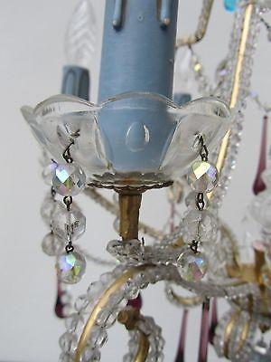 Vintage Italian Crystal Beaded 6-light Chandelier, Purple & Azure drops 7