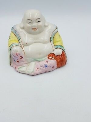 Vintage Chinese Hand Painted Porcelain Medium Size Happy Laughing Sitting Buddha 2
