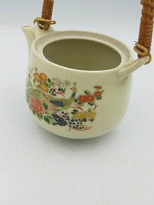 Vintage Japanese Satsuma Porcelain Teapot Floral Exotic Birds Gold Bamboo Handle 11