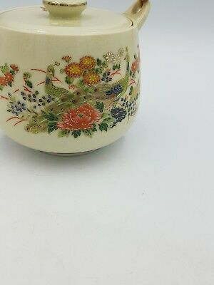Vintage Japanese Satsuma Porcelain Teapot Floral Exotic Birds Gold Bamboo Handle 2