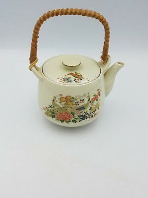 Vintage Japanese Satsuma Porcelain Teapot Floral Exotic Birds Gold Bamboo Handle 6