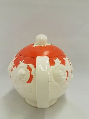 Vintage Moriyama Mori-machi Teapot Japan Orange Floral Flowers