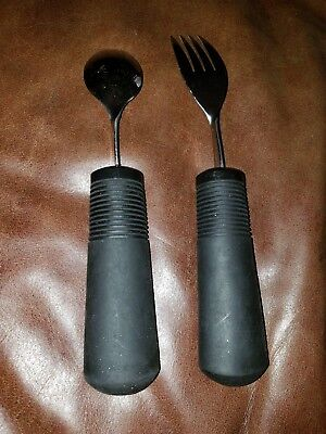 OXO Special Needs Adaptive Rubber Handle Fork & Spoon Set Dining Aids