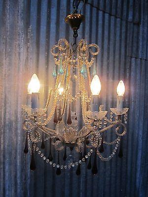Vintage Italian Crystal Beaded 6-light Chandelier, Purple & Azure drops 12