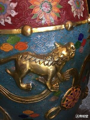 bronze gold copper padding thread weaving enamel cloisonne round table and stool 7