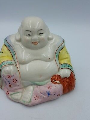 Vintage Chinese Hand Painted Porcelain Medium Size Happy Laughing Sitting Buddha 3