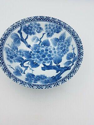 Japanese Fine Porcelain Large Footed Bowl Blue & White Blossom Floral Geometric 4