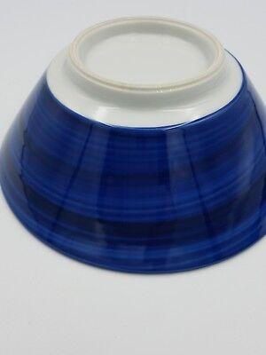 Japanese Fine Porcelain Large Footed Bowl Blue & White Peony Flowers Geometric 8