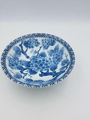 Japanese Fine Porcelain Large Footed Bowl Blue & White Blossom Floral Geometric 2