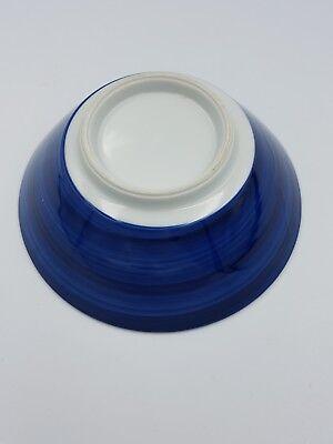 Japanese Fine Porcelain Large Footed Bowl Blue & White Peony Flowers Geometric 6