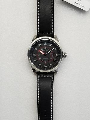 Citizen Avion Eco-Drive Black Dial Date Black Leather Men's Watch Aw1361-01E New 3