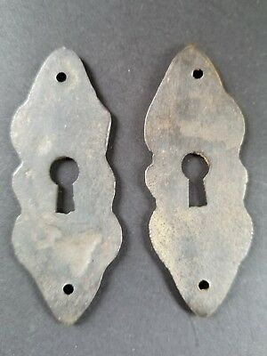 "4 vintage antique brass escutcheons 2 3/4"" tall x 1"" wide, jewelry component #E3"