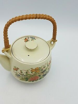 Vintage Japanese Satsuma Porcelain Teapot Floral Exotic Birds Gold Bamboo Handle 4
